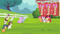 Diamond Tiara, Silver Spoon and other foals walking towards CMC S4E15.png