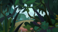 Distance view of Fluttershy outside the forest S9E18