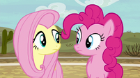 Fluttershy and Pinkie listen to Rainbow Dash S6E18