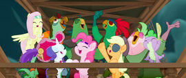 MLP The Movie Videocine - Ponies and parrots cheering