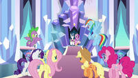 Main ponies enter Crystal Empire throne room S9E25