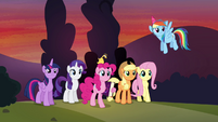 Mane 6 watching Cheese leave S4E12