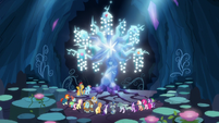 Mane Six and Pillars in front of Tree of Harmony S7E26