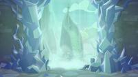 Mount Aris behind a waterfall S8E22