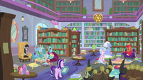 Parent-teacher conferences in the library S9E20