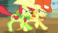 Peachy Sweet and Jonagold competing in steeplechase S5E6.png
