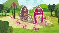 Pinkie Pie clones surrounding the barn S3E03