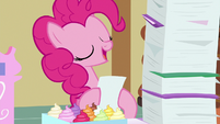 Pinkie reading Cheerilee's favorite treat file S7E3