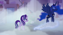 Princess Luna walking away on a glittery cloud S6E25