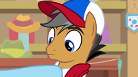 Rainbow Dash pointing at Quibble S9E6