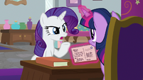 "Rarity ""gotten a copy of your book"" S8E16"