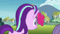 Starlight and Maud walk away from Pinkie S7E4