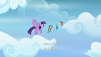 Twilight and Rainbow Dash flying together S6E24