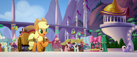 Applejack pulling an apple cider cart MLPTM