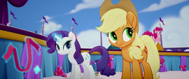 Applejack watching Pinkie bounce on stage MLPTM