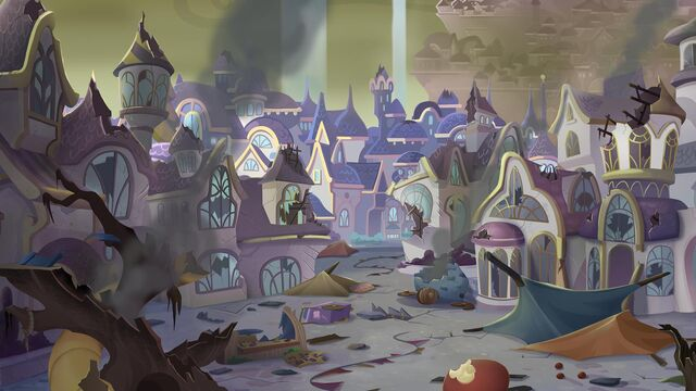 File:MLP The Movie background art - Canterlot in ruins.jpg