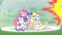 Mane Six and Spike in a bubble shield S9E25