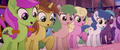 More ponies looking at big mess of cake MLPTM.png
