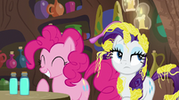 Pinkie Pie giggling; Rarity rolls her eyes S7E19