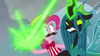 Queen Chrysalis blasts Chrysalis doll S9E25