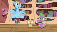 Rainbow, Owlowiscious y Spike aún bromeando PP123