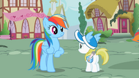 Rainbow Dash with her fan S2E8