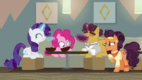 Rarity, Pinkie, and Coriander eating Saffron's soup S6E12