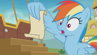 Season 8 promo image - Rainbow Dash looking at Applejack's list