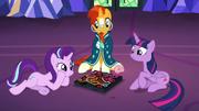 Starlight, Sunburst, and Twilight play Dragon Pit S7E24