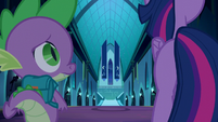 Twilight and Spike walking down the hallway S5E26