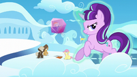 Fluttershy and bullies see Rainbow frozen in crystal block S5E26