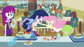 Fluttershy cleaning Twilight's shirt EG.png