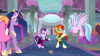 Older Starlight and Sunburst greet their friends S9E26