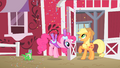 Pinkie Pie inviting Applejack to Gummy's party S1E25.png
