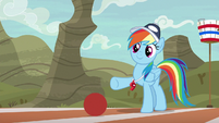 Rainbow Dash gives ball a light kick S9E6