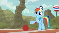 Rainbow Dash gives ball a light kick S9E6