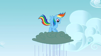 Rainbow Dash jumping up and down on a cloud S3E8