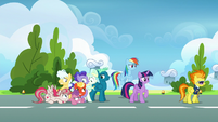 Spitfire walking away from Twilight and Rainbow S6E24