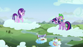 Starlight looks at Twilight on a cloud with Spike S5E26.png