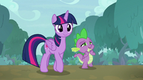 Twilight and Spike walking through the forest S9E18