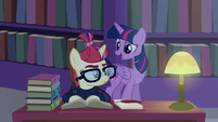 Twilight greets Moon Dancer in the library S5E12