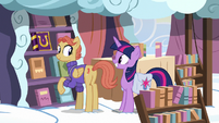 Twilight smiling at the Cloudsdale bookseller S7E14
