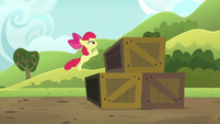 Apple Bloom doing the crate jump S5E17