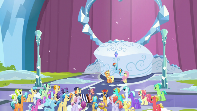 File:Applejack, Rainbow, and Fluttershy in front of the crowd S6E2.png