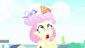 Fluttershy shocked at her bird's nest hairstyle SS14.png