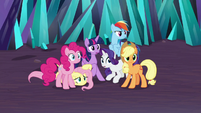 Mane Six cowering before Sombra S9E2