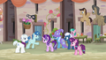 Our Town villagers happily greeting Starlight Glimmer S6E25.png