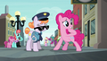 Pinkie Pie worried; Police Pony disoriented S6E3.png