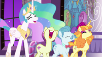 Princess Celestia and Fleur De Verre laughing S7E10