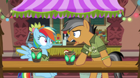 Quibble slams his hooves on the table S6E13